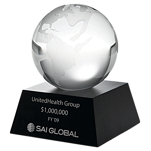 Clear ocean globe with black aluminium base